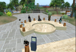 Photo of a lecture on the UW Second Life island